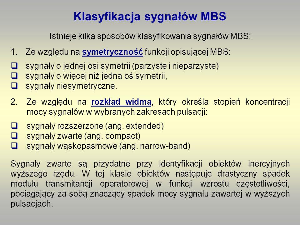 1.Ze względu na symetryczność funkcji opisującej MBS: sygnały o jednej osi symetrii (parzyste i nieparzyste) sygnały o więcej niż jedna oś symetrii, sygnały niesymetryczne.