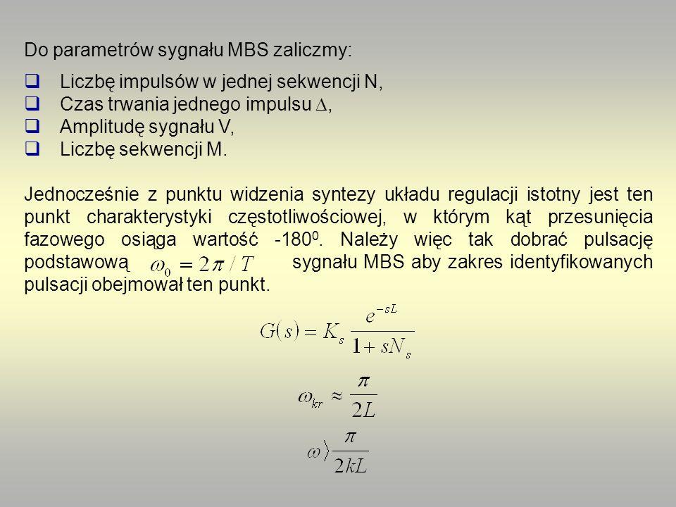 Do parametrów sygnału MBS zaliczmy: Liczbę impulsów w jednej sekwencji N, Czas trwania jednego impulsu, Amplitudę sygnału V, Liczbę sekwencji M. Jedno