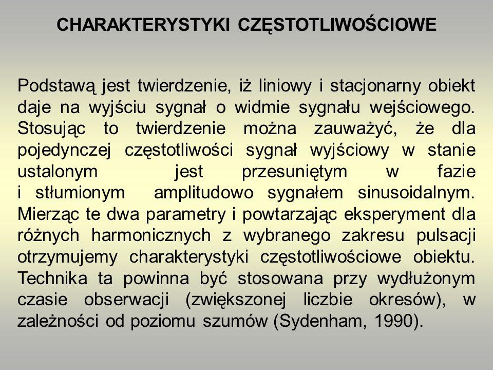 CHARAKTERYSTYKI CZĘSTOTLIWOŚCIOWE Podstawą jest twierdzenie, iż liniowy i stacjonarny obiekt daje na wyjściu sygnał o widmie sygnału wejściowego.