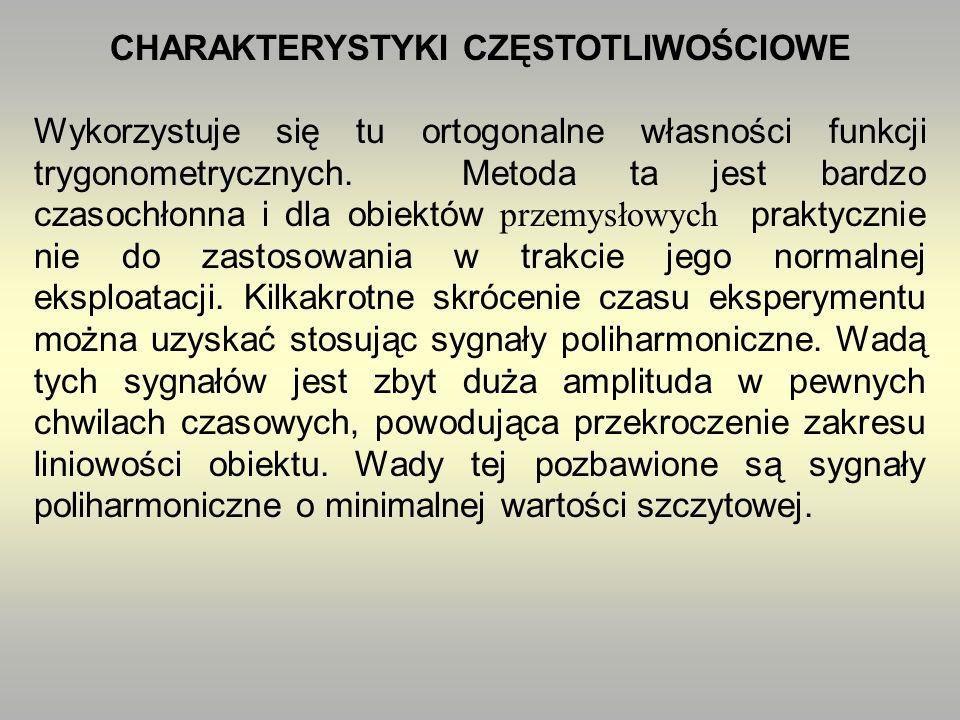 CHARAKTERYSTYKI CZĘSTOTLIWOŚCIOWE Wykorzystuje się tu ortogonalne własności funkcji trygonometrycznych.