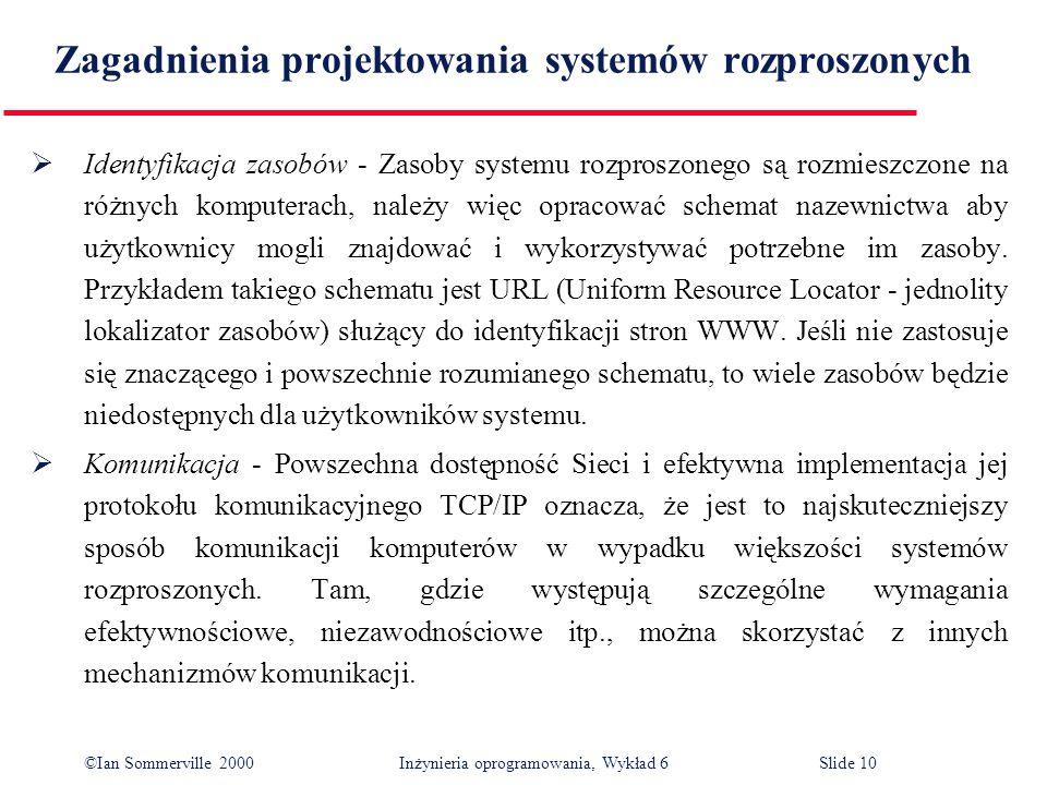 ©Ian Sommerville 2000 Inżynieria oprogramowania, Wykład 6Slide 10 Zagadnienia projektowania systemów rozproszonych Identyfikacja zasobów - Zasoby syst