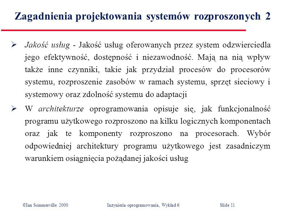 ©Ian Sommerville 2000 Inżynieria oprogramowania, Wykład 6Slide 11 Zagadnienia projektowania systemów rozproszonych 2 Jakość usług - Jakość usług ofero