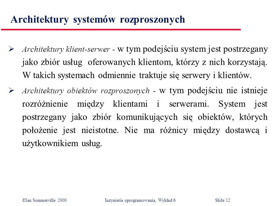 ©Ian Sommerville 2000 Inżynieria oprogramowania, Wykład 6Slide 12 Architektury systemów rozproszonych Architektury klient-serwer - w tym podejściu sys