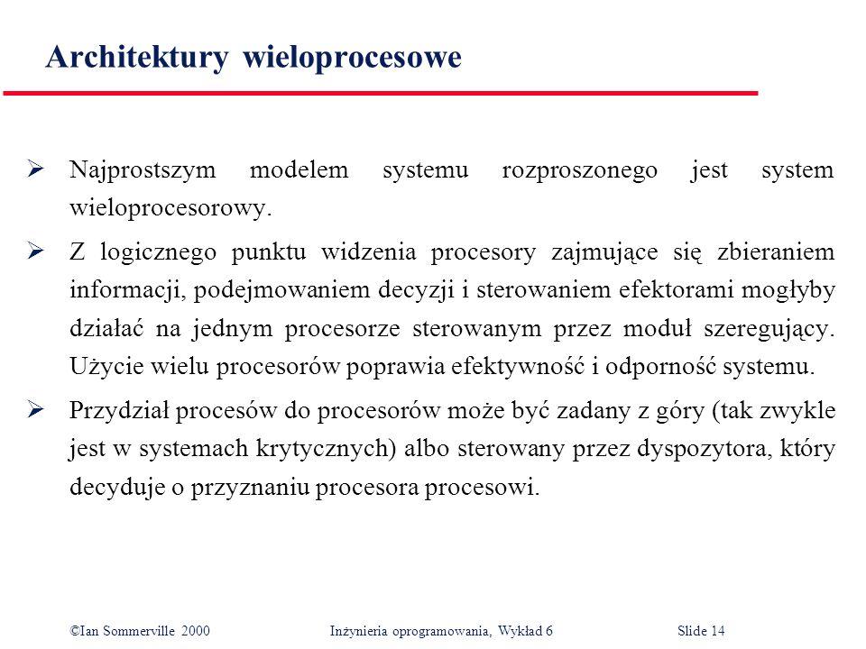 ©Ian Sommerville 2000 Inżynieria oprogramowania, Wykład 6Slide 14 Architektury wieloprocesowe Najprostszym modelem systemu rozproszonego jest system w