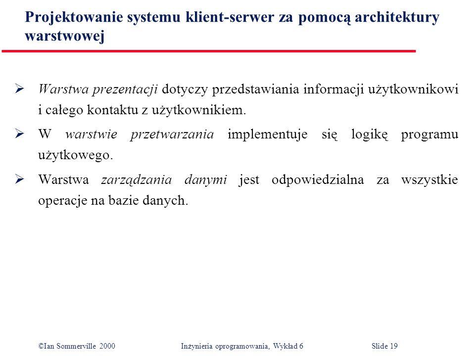 ©Ian Sommerville 2000 Inżynieria oprogramowania, Wykład 6Slide 19 Projektowanie systemu klient-serwer za pomocą architektury warstwowej Warstwa prezen