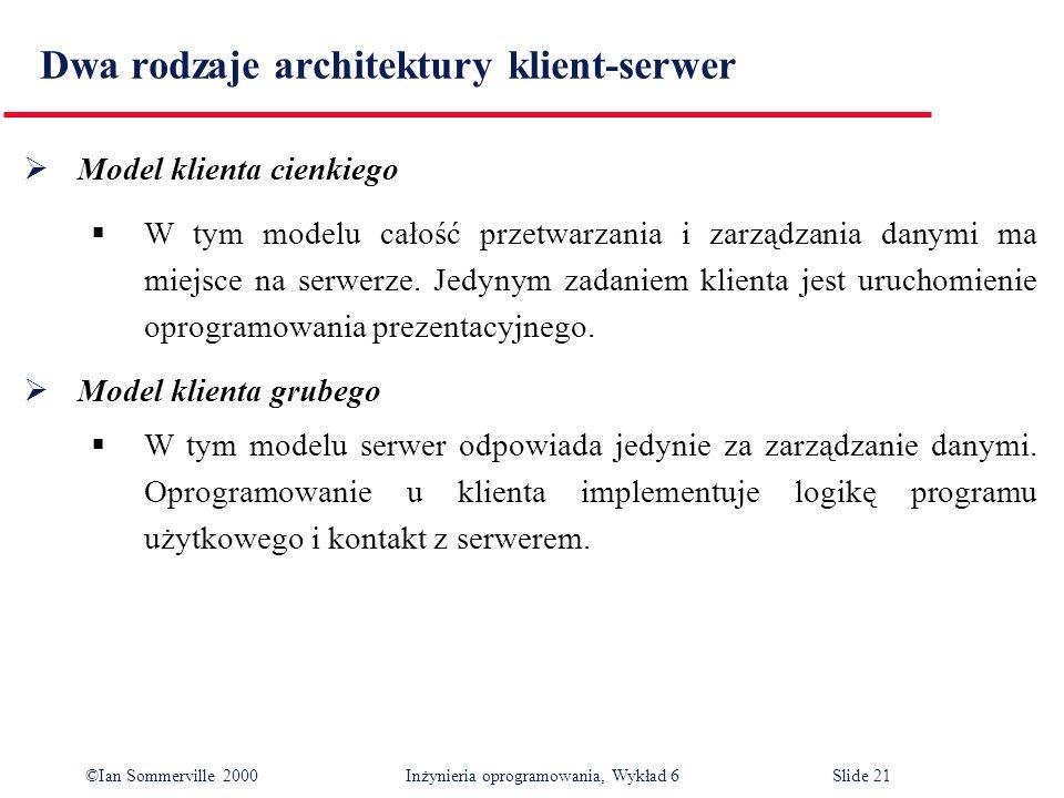 ©Ian Sommerville 2000 Inżynieria oprogramowania, Wykład 6Slide 21 Dwa rodzaje architektury klient-serwer Model klienta cienkiego W tym modelu całość p