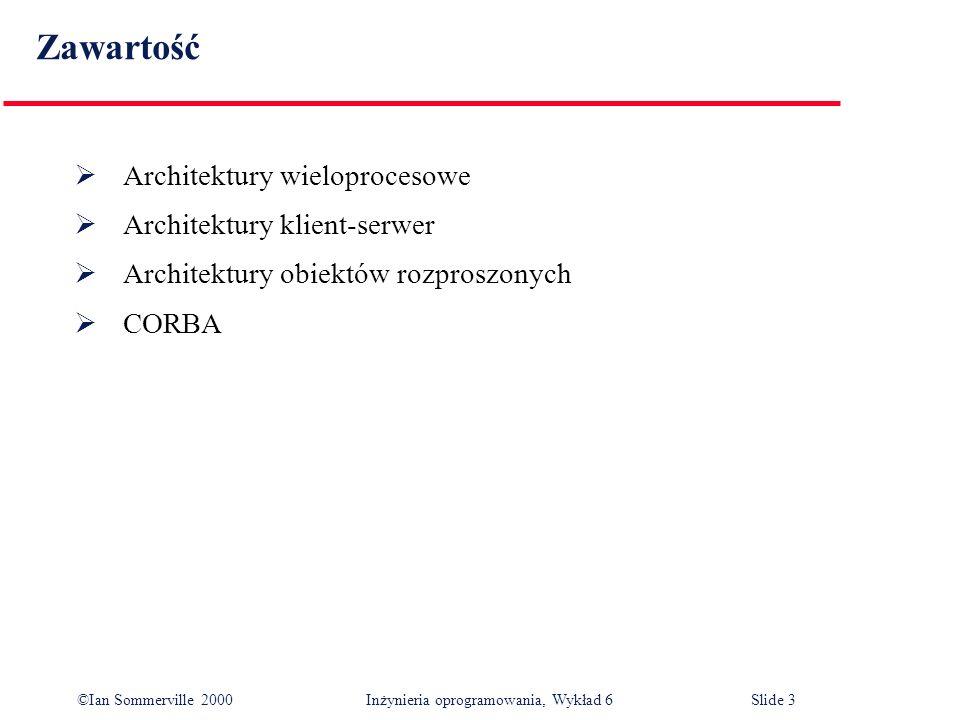 ©Ian Sommerville 2000 Inżynieria oprogramowania, Wykład 6Slide 3 Zawartość Architektury wieloprocesowe Architektury klient-serwer Architektury obiektó