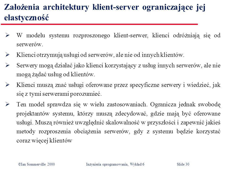 ©Ian Sommerville 2000 Inżynieria oprogramowania, Wykład 6Slide 30 Założenia architektury klient-server ograniczające jej elastyczność W modelu systemu