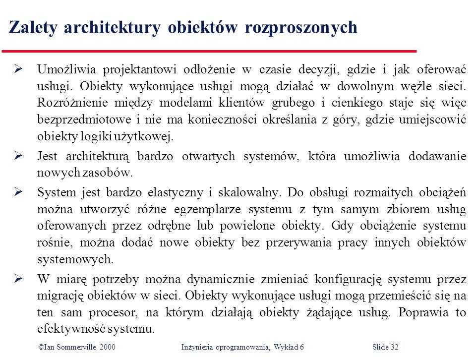 ©Ian Sommerville 2000 Inżynieria oprogramowania, Wykład 6Slide 32 Zalety architektury obiektów rozproszonych Umożliwia projektantowi odłożenie w czasi