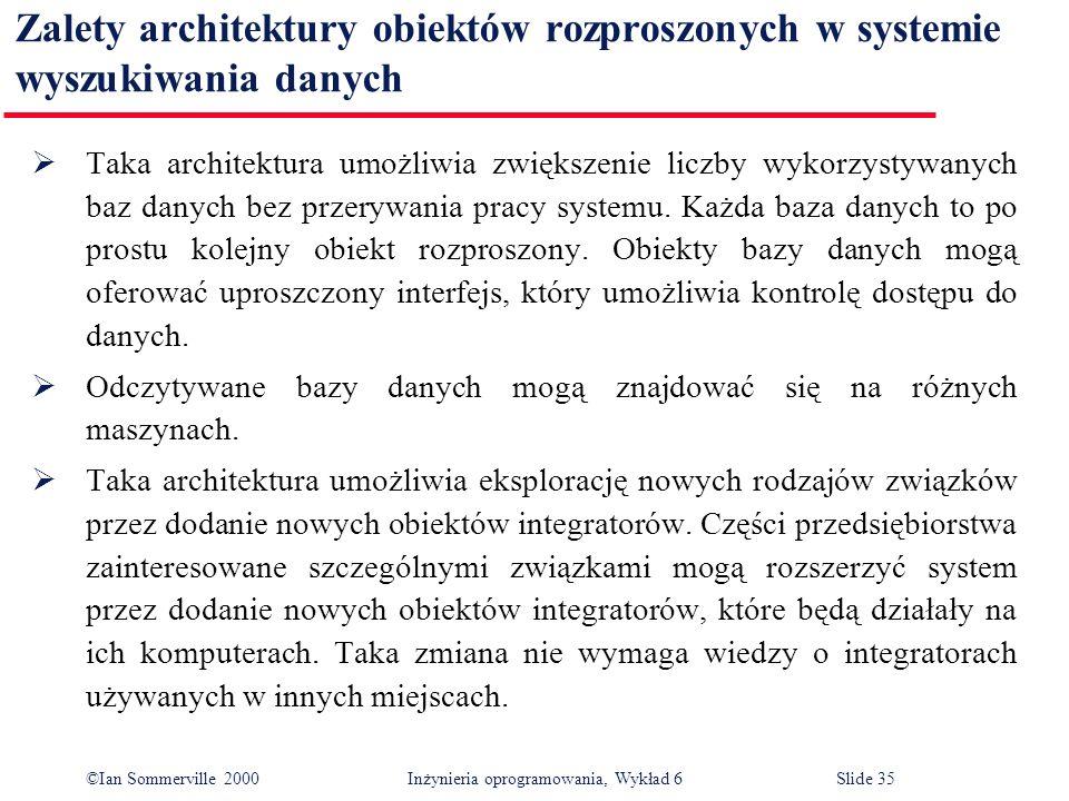 ©Ian Sommerville 2000 Inżynieria oprogramowania, Wykład 6Slide 35 Zalety architektury obiektów rozproszonych w systemie wyszukiwania danych Taka archi