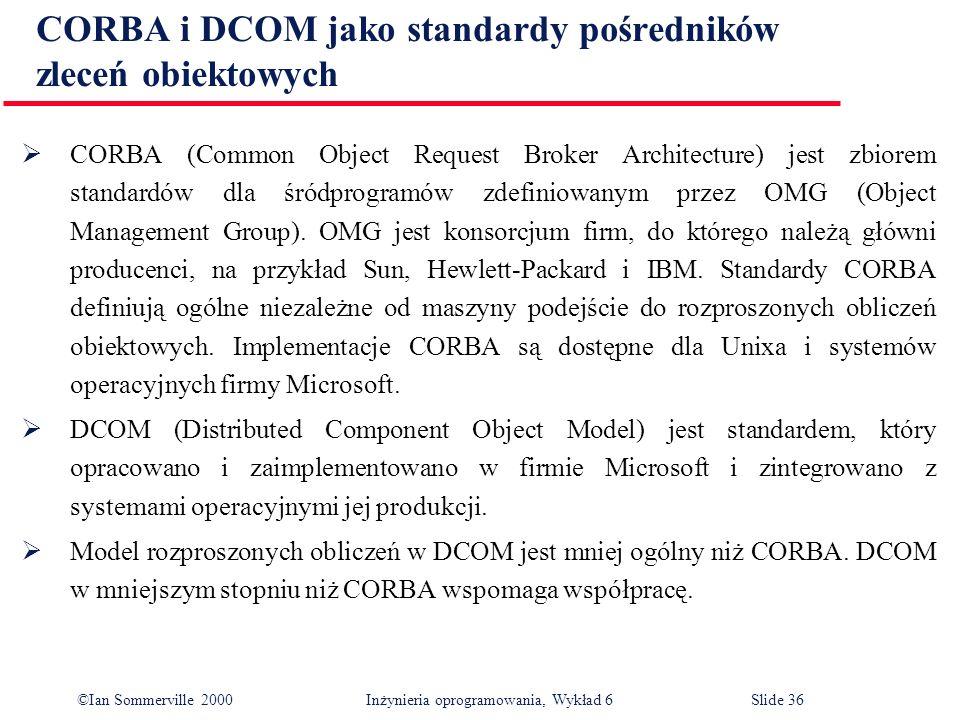 ©Ian Sommerville 2000 Inżynieria oprogramowania, Wykład 6Slide 36 CORBA i DCOM jako standardy pośredników zleceń obiektowych CORBA (Common Object Requ