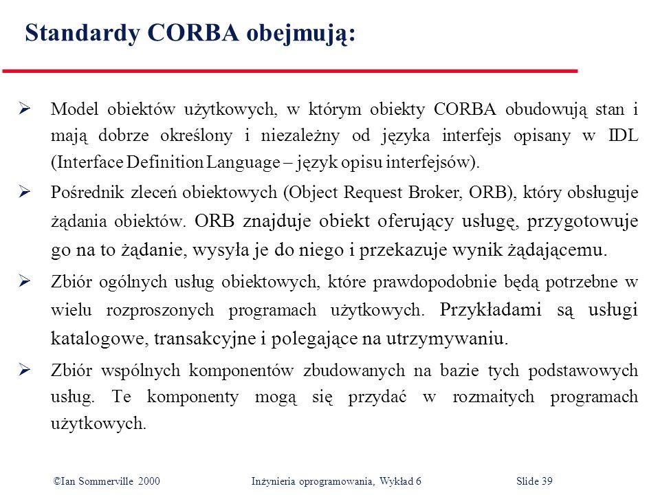 ©Ian Sommerville 2000 Inżynieria oprogramowania, Wykład 6Slide 39 Standardy CORBA obejmują: Model obiektów użytkowych, w którym obiekty CORBA obudowuj