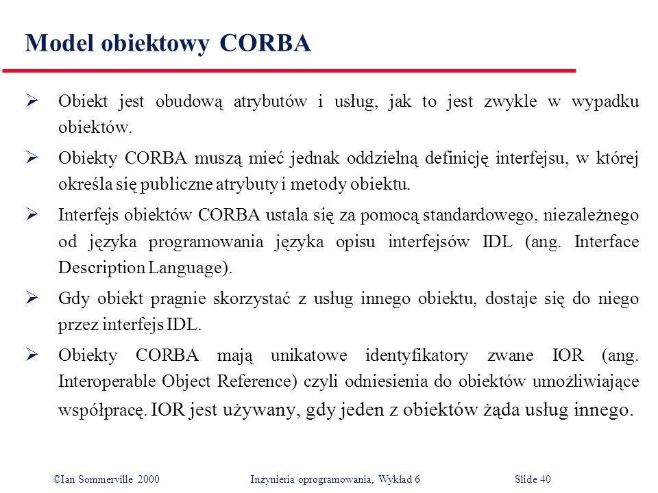 ©Ian Sommerville 2000 Inżynieria oprogramowania, Wykład 6Slide 40 Model obiektowy CORBA Obiekt jest obudową atrybutów i usług, jak to jest zwykle w wy
