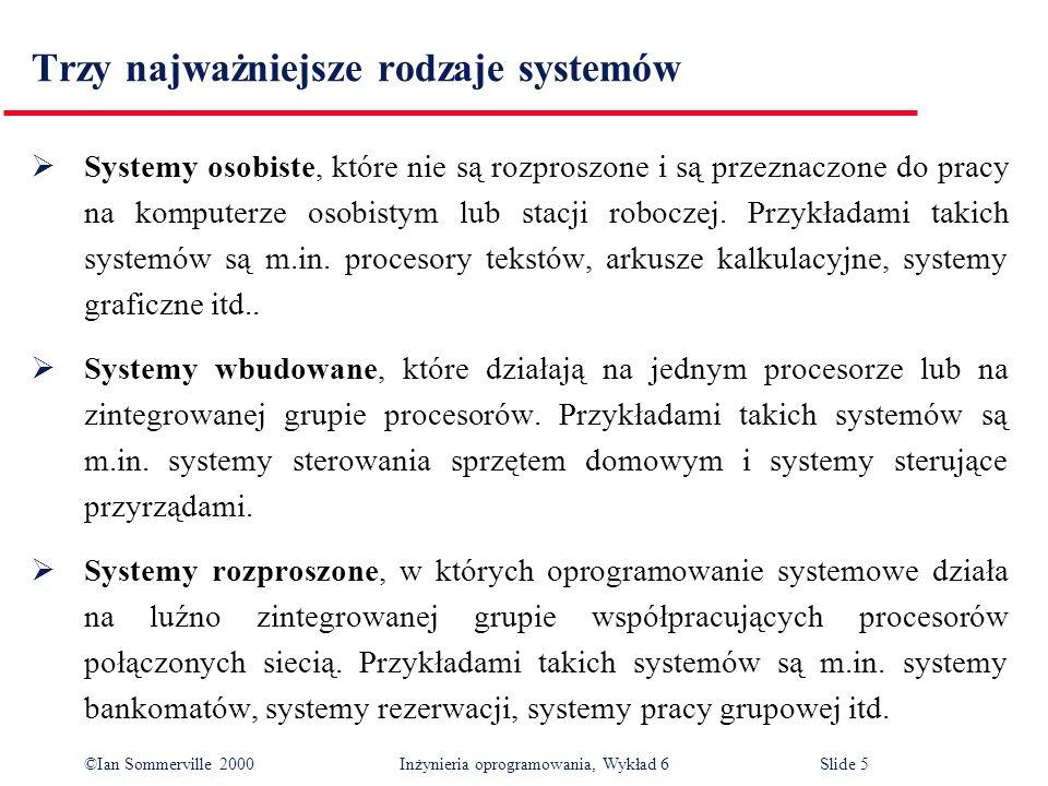 ©Ian Sommerville 2000 Inżynieria oprogramowania, Wykład 6Slide 5 Trzy najważniejsze rodzaje systemów Systemy osobiste, które nie są rozproszone i są p