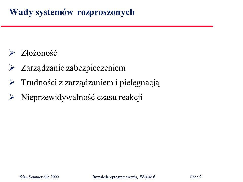 ©Ian Sommerville 2000 Inżynieria oprogramowania, Wykład 6Slide 9 Wady systemów rozproszonych Złożoność Zarządzanie zabezpieczeniem Trudności z zarządz