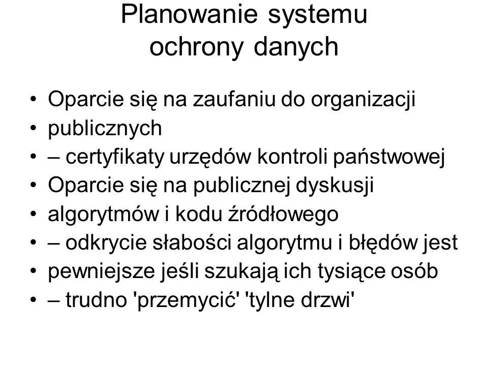 Planowanie systemu ochrony danych Oparcie się na zaufaniu do organizacji publicznych – certyfikaty urzędów kontroli państwowej Oparcie się na publiczn