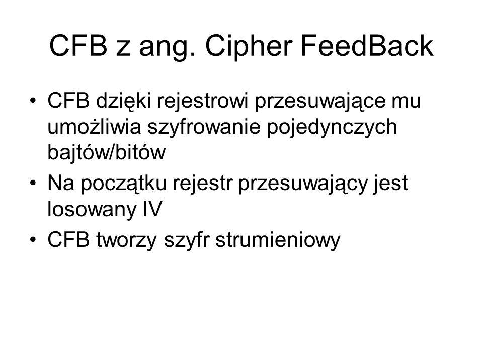 CFB z ang. Cipher FeedBack CFB dzięki rejestrowi przesuwające mu umożliwia szyfrowanie pojedynczych bajtów/bitów Na początku rejestr przesuwający jest