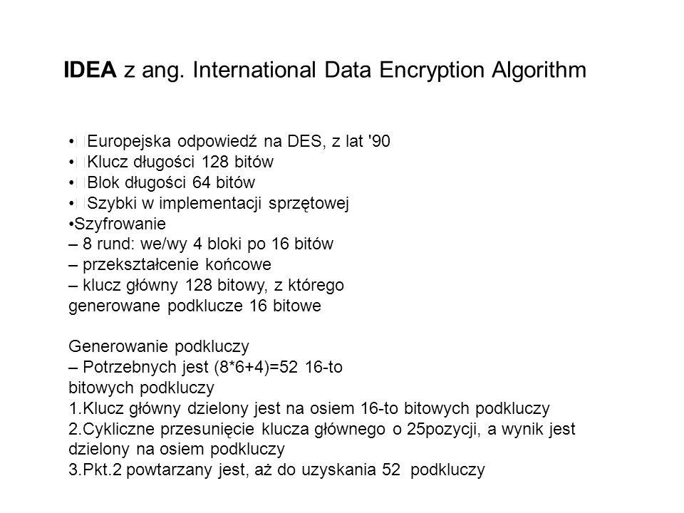 IDEA z ang. International Data Encryption Algorithm Europejska odpowiedź na DES, z lat '90 Klucz długości 128 bitów Blok długości 64 bitów Szybki