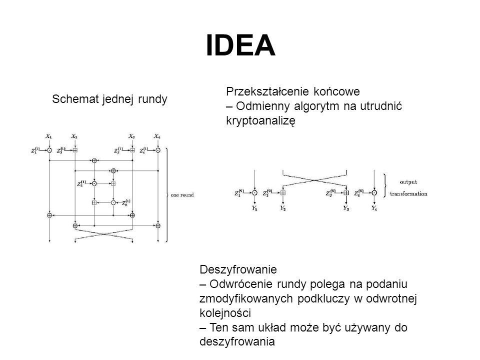 IDEA Przekształcenie końcowe – Odmienny algorytm na utrudnić kryptoanalizę Schemat jednej rundy Deszyfrowanie – Odwrócenie rundy polega na podaniu zmo