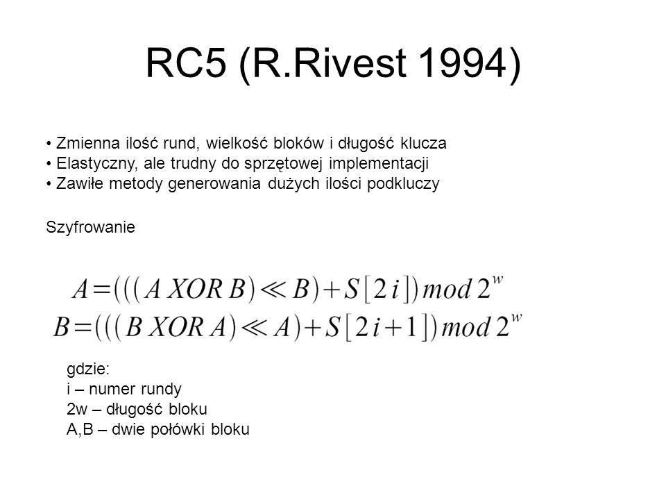 RC5 (R.Rivest 1994) Zmienna ilość rund, wielkość bloków i długość klucza Elastyczny, ale trudny do sprzętowej implementacji Zawiłe metody generowania