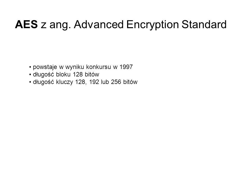 AES z ang. Advanced Encryption Standard powstaje w wyniku konkursu w 1997 długość bloku 128 bitów długość kluczy 128, 192 lub 256 bitów