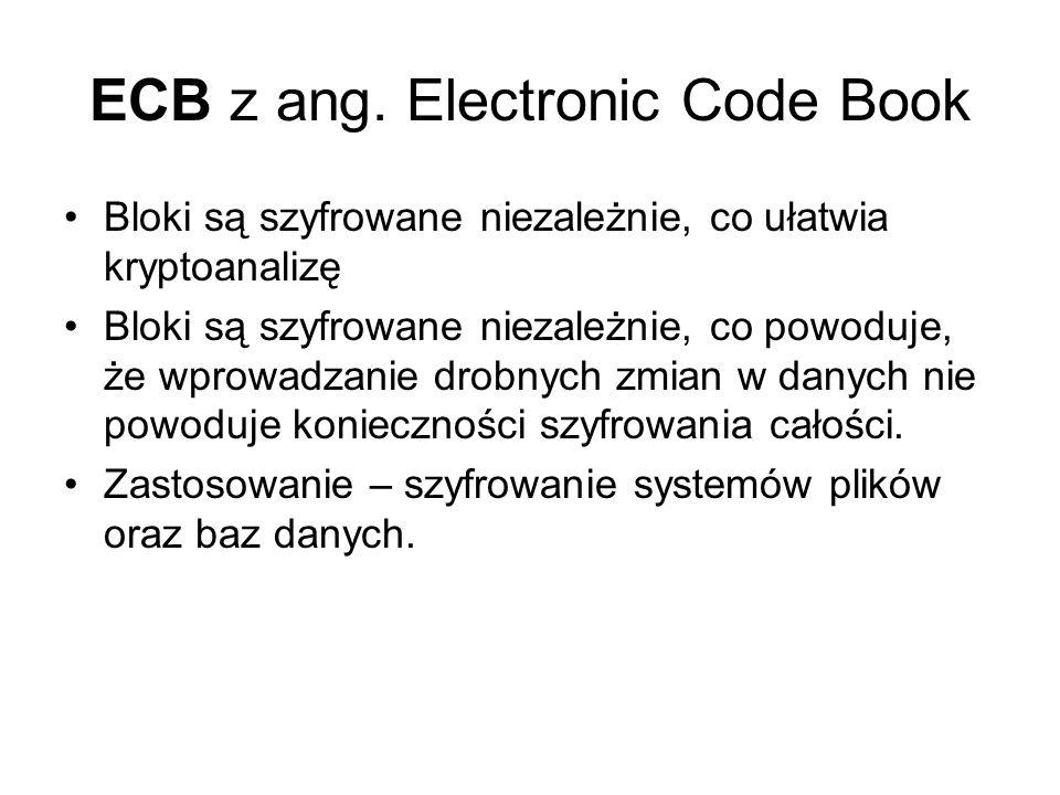ECB z ang. Electronic Code Book Bloki są szyfrowane niezależnie, co ułatwia kryptoanalizę Bloki są szyfrowane niezależnie, co powoduje, że wprowadzani