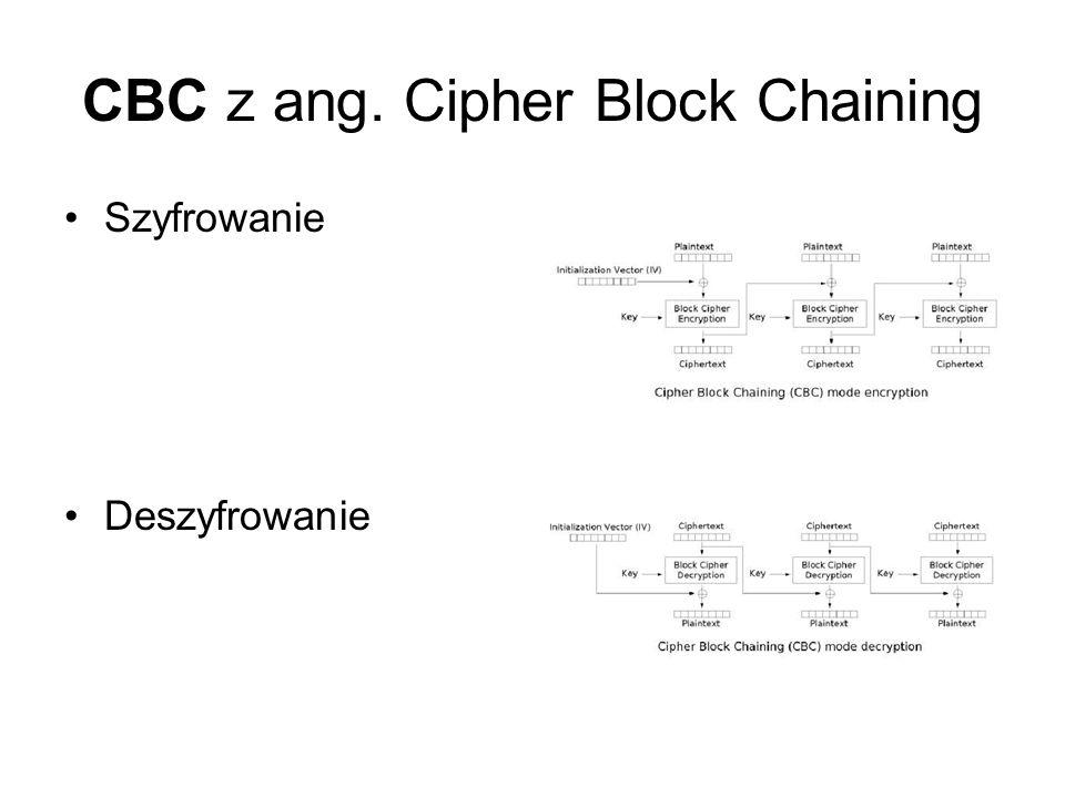 CBC z ang.Cipher Block Chaining Zalety: – takie same bloki tekstu jawnego dają różne kryptogramy.