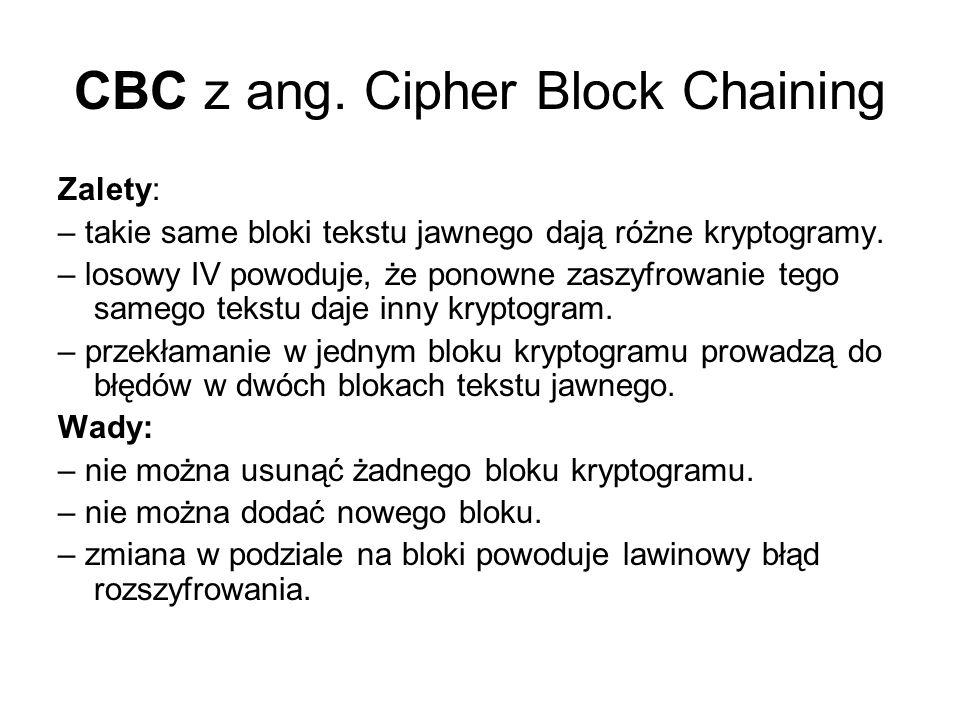 Propagacja błędów ECB: błąd w jednym bloku przenosi się na jeden blok.