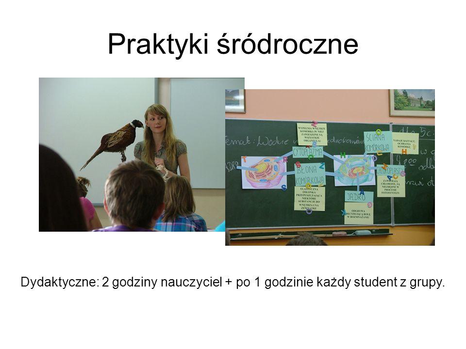 Praktyki śródroczne Dydaktyczne: 2 godziny nauczyciel + po 1 godzinie każdy student z grupy.