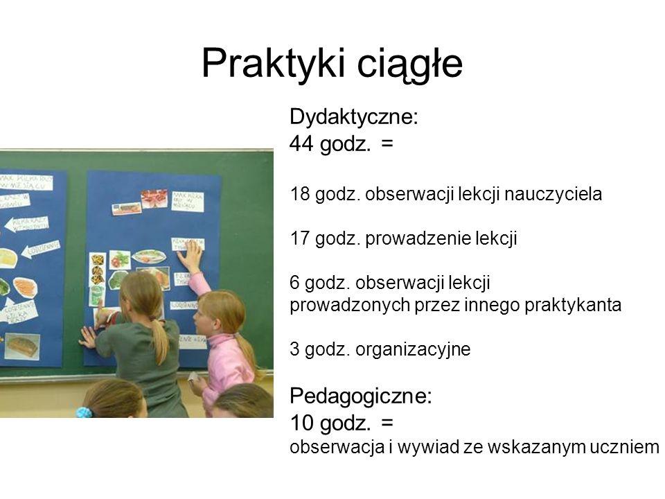 Praktyki ciągłe Dydaktyczne: 44 godz. = 18 godz. obserwacji lekcji nauczyciela 17 godz.