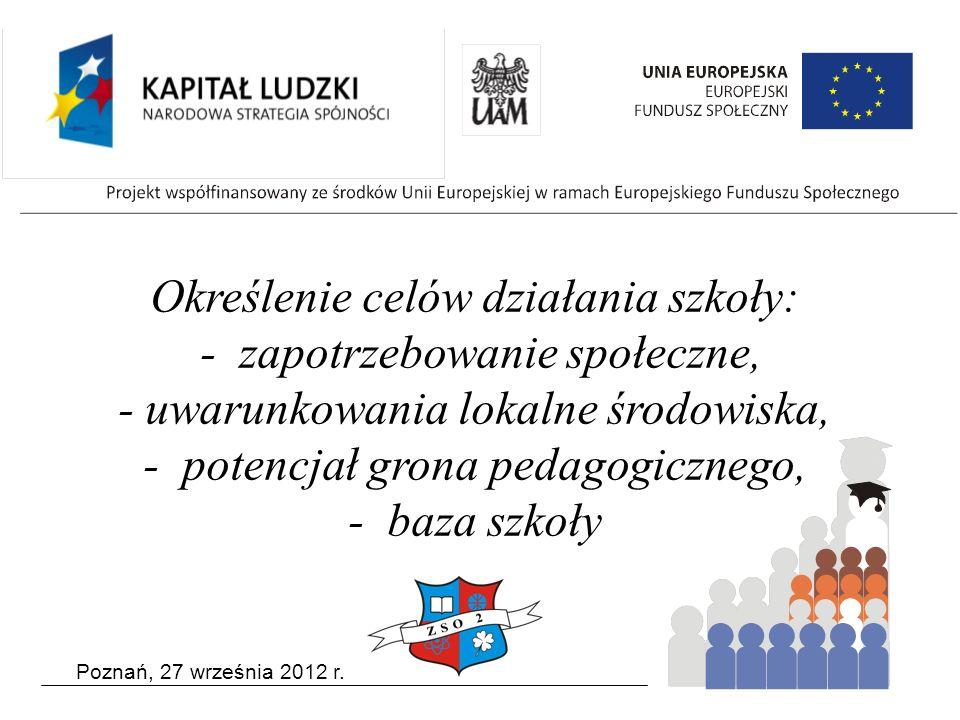 Poznań, 27 września 2012 r. Określenie celów działania szkoły: - zapotrzebowanie społeczne, - uwarunkowania lokalne środowiska, - potencjał grona peda