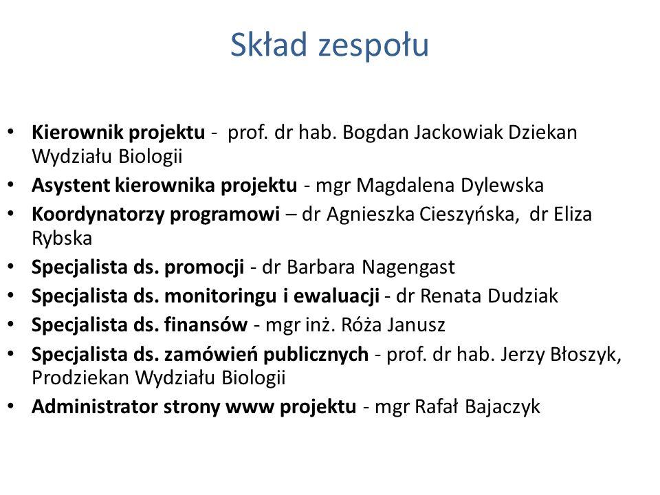 Skład zespołu Kierownik projektu - prof. dr hab. Bogdan Jackowiak Dziekan Wydziału Biologii Asystent kierownika projektu - mgr Magdalena Dylewska Koor