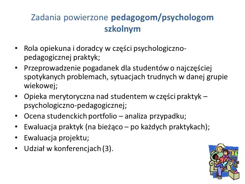 Zadania powierzone pedagogom/psychologom szkolnym Rola opiekuna i doradcy w części psychologiczno- pedagogicznej praktyk; Przeprowadzenie pogadanek dl