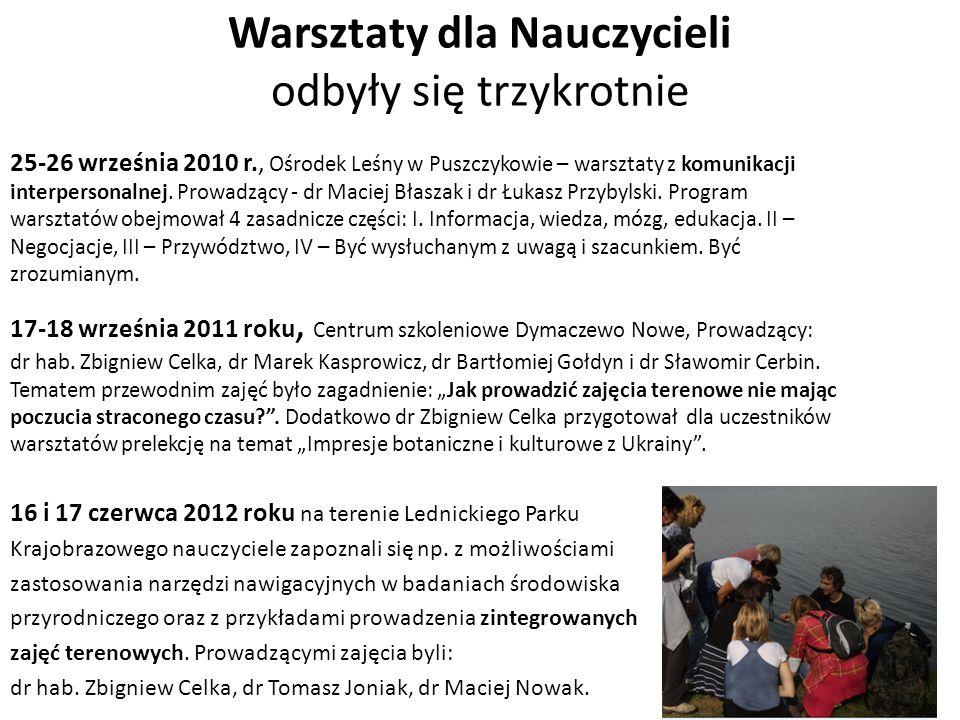 Warsztaty dla Nauczycieli odbyły się trzykrotnie 25-26 września 2010 r., Ośrodek Leśny w Puszczykowie – warsztaty z komunikacji interpersonalnej. Prow