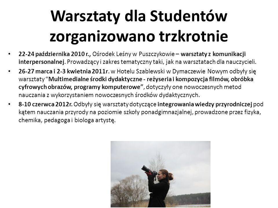 Warsztaty dla Studentów zorganizowano trzkrotnie 22-24 października 2010 r., Ośrodek Leśny w Puszczykowie – warsztaty z komunikacji interpersonalnej.