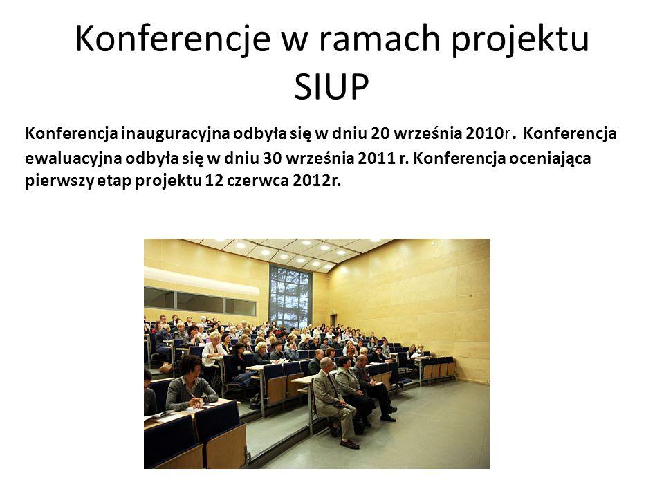 Konferencje w ramach projektu SIUP Konferencja inauguracyjna odbyła się w dniu 20 września 2010r. Konferencja ewaluacyjna odbyła się w dniu 30 wrześni