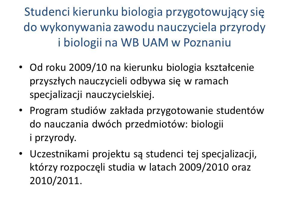 Studenci kierunku biologia przygotowujący się do wykonywania zawodu nauczyciela przyrody i biologii na WB UAM w Poznaniu Od roku 2009/10 na kierunku b