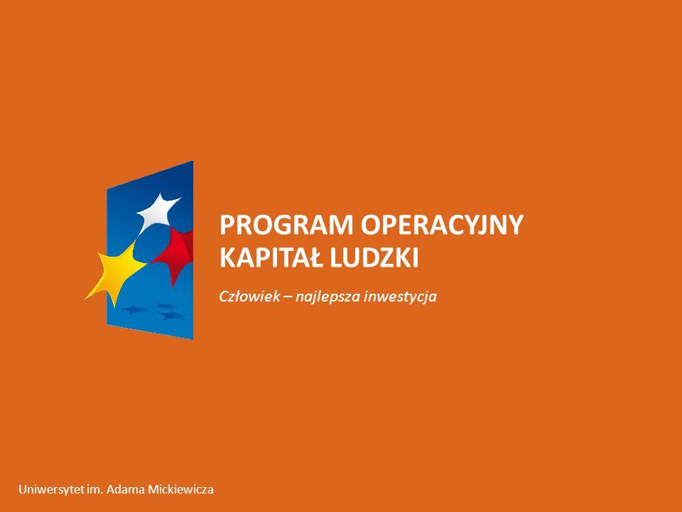 PROGRAM OPERACYJNY KAPITAŁ LUDZKI Człowiek – najlepsza inwestycja Uniwersytet im. Adama Mickiewicza