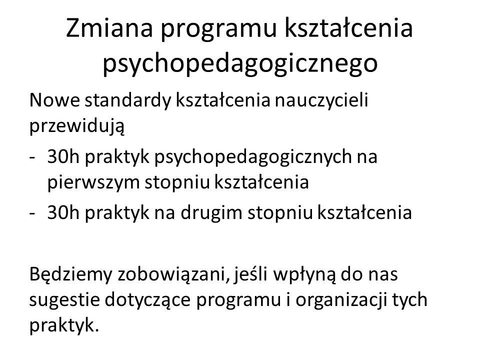 Zmiana programu kształcenia psychopedagogicznego Nowe standardy kształcenia nauczycieli przewidują -30h praktyk psychopedagogicznych na pierwszym stopniu kształcenia -30h praktyk na drugim stopniu kształcenia Będziemy zobowiązani, jeśli wpłyną do nas sugestie dotyczące programu i organizacji tych praktyk.