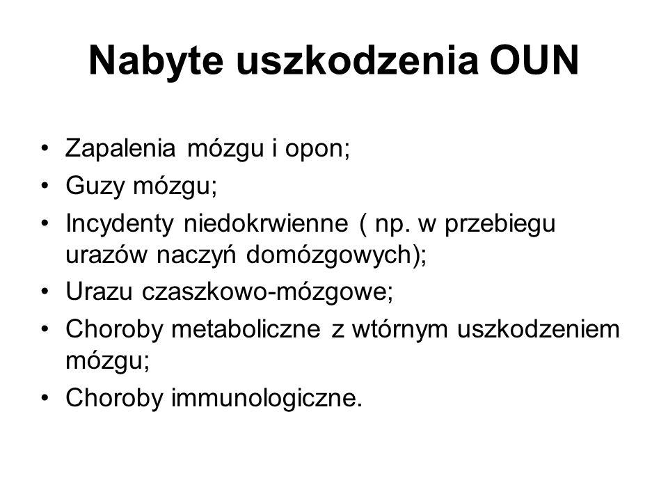 Nabyte uszkodzenia OUN Zapalenia mózgu i opon; Guzy mózgu; Incydenty niedokrwienne ( np.