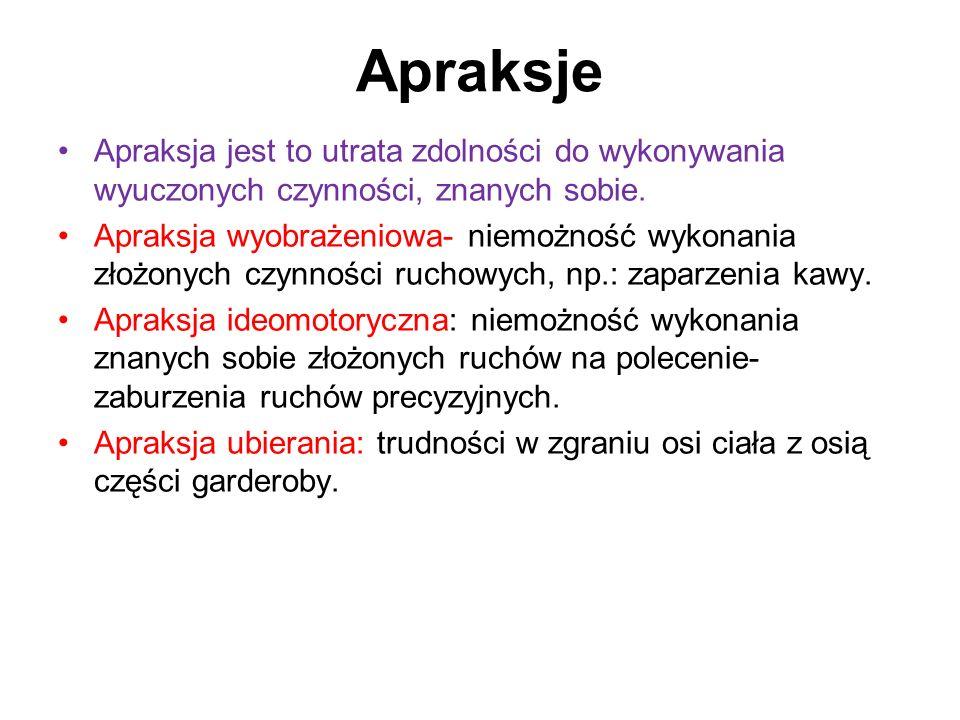 Apraksje Apraksja jest to utrata zdolności do wykonywania wyuczonych czynności, znanych sobie.