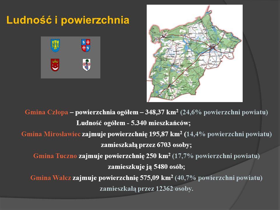 Gmina Człopa – powierzchnia ogółem – 348,37 km 2 (24,6% powierzchni powiatu) Ludność ogółem - 5.340 mieszkańców; Gmina Mirosławiec zajmuje powierzchni