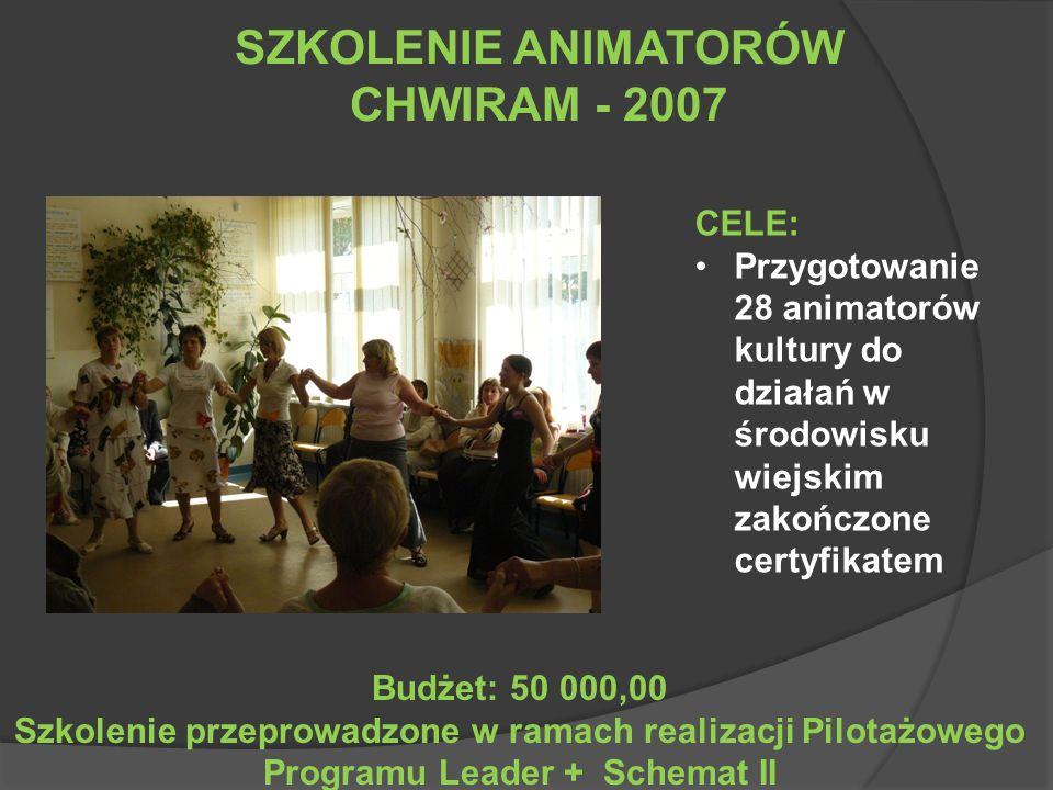 SZKOLENIE ANIMATORÓW CHWIRAM - 2007 CELE: Przygotowanie 28 animatorów kultury do działań w środowisku wiejskim zakończone certyfikatem Budżet: 50 000,00 Szkolenie przeprowadzone w ramach realizacji Pilotażowego Programu Leader + Schemat II