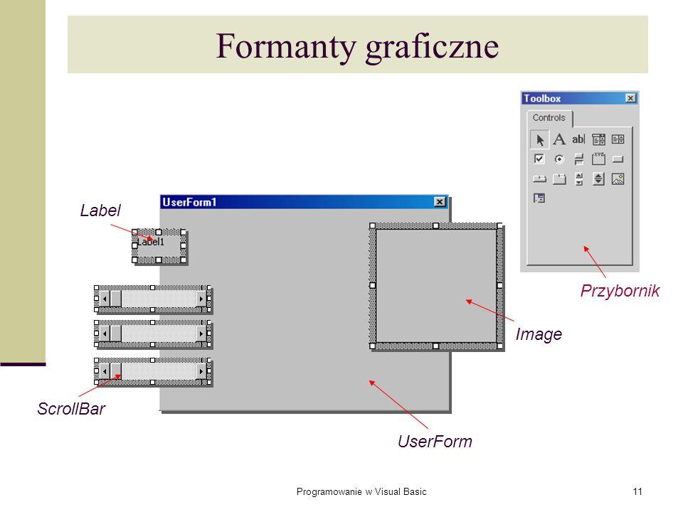 Programowanie w Visual Basic11 Formanty graficzne Image UserForm Label ScrollBar Przybornik