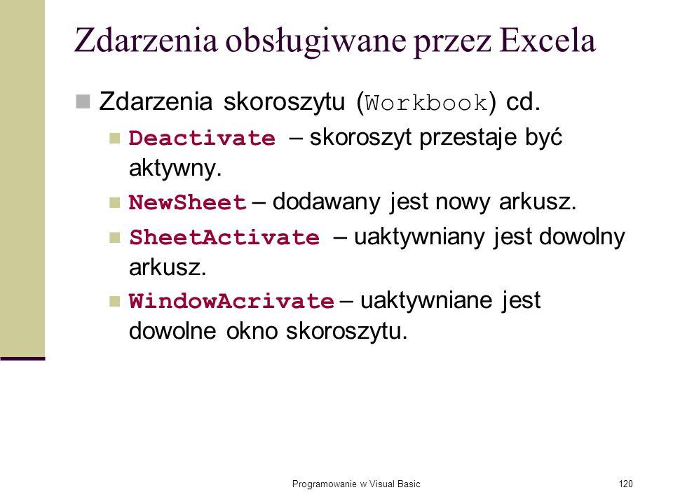 Programowanie w Visual Basic120 Zdarzenia obsługiwane przez Excela Zdarzenia skoroszytu ( Workbook ) cd. Deactivate – skoroszyt przestaje być aktywny.