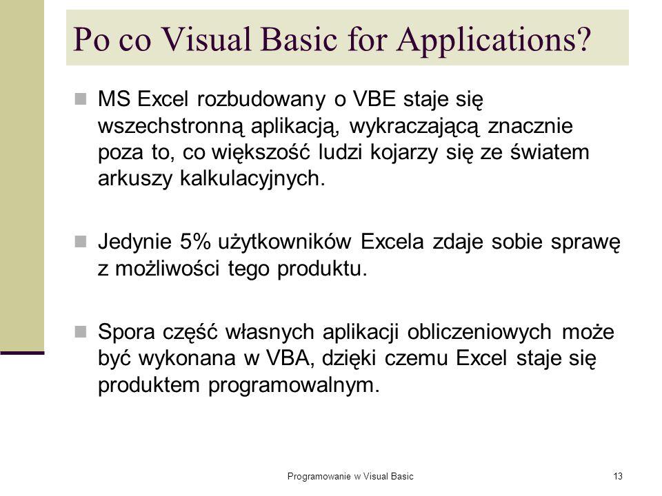 Programowanie w Visual Basic13 Po co Visual Basic for Applications? MS Excel rozbudowany o VBE staje się wszechstronną aplikacją, wykraczającą znaczni