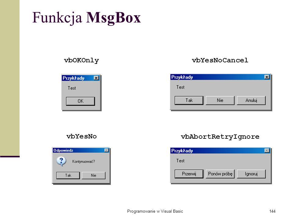 Programowanie w Visual Basic144 Funkcja MsgBox vbAbortRetryIgnore vbYesNo vbYesNoCancelvbOKOnly