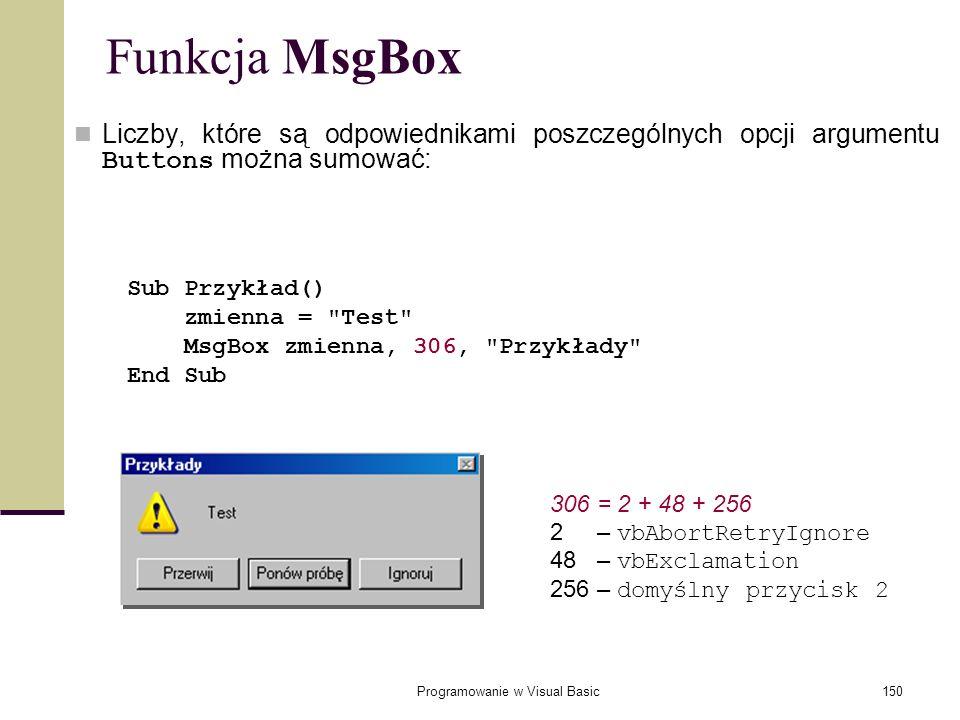 Programowanie w Visual Basic150 Funkcja MsgBox Liczby, które są odpowiednikami poszczególnych opcji argumentu Buttons można sumować: Sub Przykład() zm