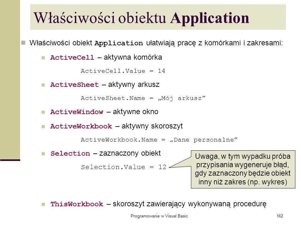 Programowanie w Visual Basic162 Właściwości obiektu Application Właściwości obiekt Application ułatwiają pracę z komórkami i zakresami: ActiveCell – a