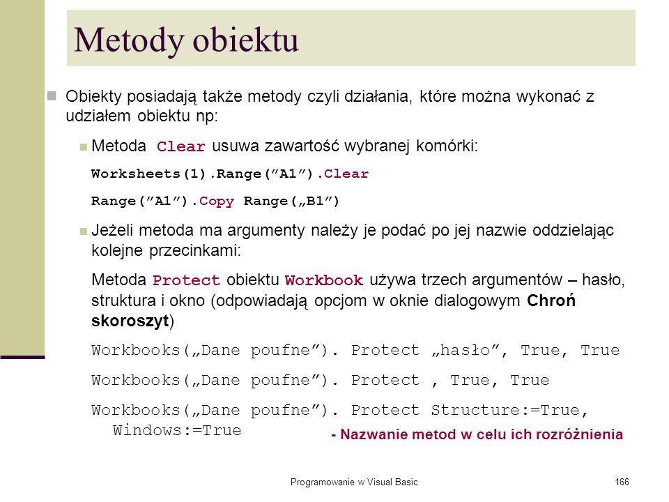 Programowanie w Visual Basic166 Metody obiektu Obiekty posiadają także metody czyli działania, które można wykonać z udziałem obiektu np: Metoda Clear